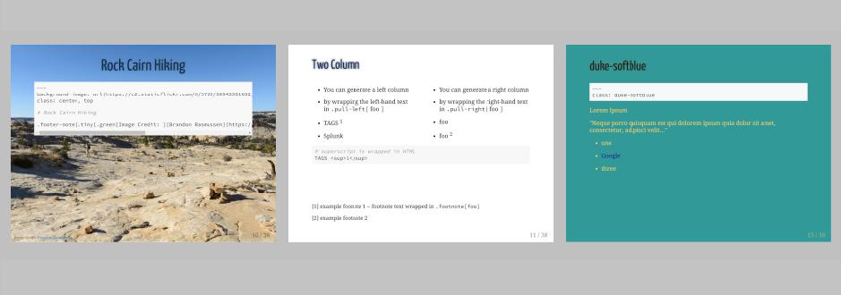 Slide Template Using Duke University Color Palette & xaringan | John
